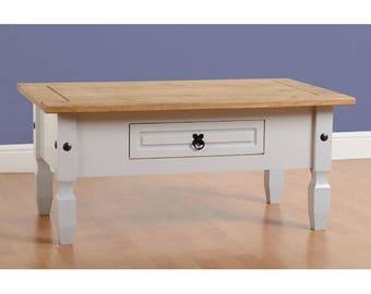 Corona 1 Drawer Coffee Table Painted Grey Distressed Waxed Pine