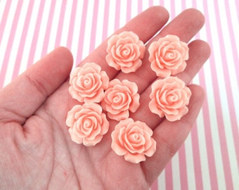10 Light Pink 20mm Resin Rose Cabochons