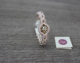 Soutache bracelet, Soutache jewelry, gold, beige, OOAK, handsewn, handmade in Italy, pearls, Swarovski crystals