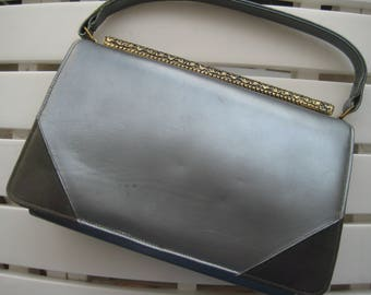 Gray Leather Kelly Style Bag from Stylecraft