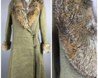 Vintage 60s Pickfair Place Womens Wool Fox Fur Princess Coat Pleat Tan Union Made L