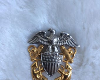 Vintage Sterling Silver & 1/20 10KT Gold Filled USA Navy Military Eagle Pin 10K Anchor Sword