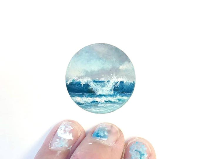 Print of miniature watercolor painting of waves.  giclee print of ocean waves