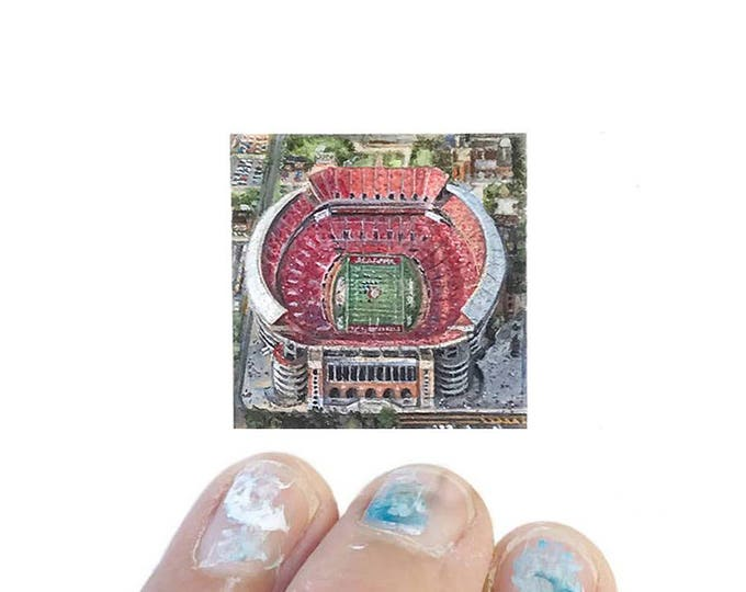 Print of miniature watercolor painting of Alabama Bryant denny stadium.  giclee print of Alabama football stadium watercolor painting