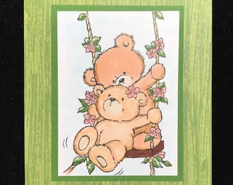 Swinging Bears Love Greeting Card