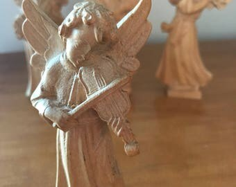 Antique German Carved Natural Wood Angel Playing Violin Musical Instrument |  Wooden Carved Angel | Vintage German Wooden Angel Cherub