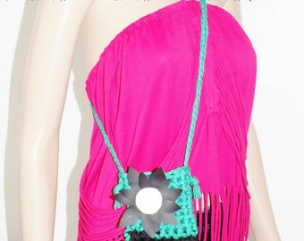 """Original Mini portable Smartphone bag """"FLOWER"""" cotton black size: 16cm x 12 cm"""