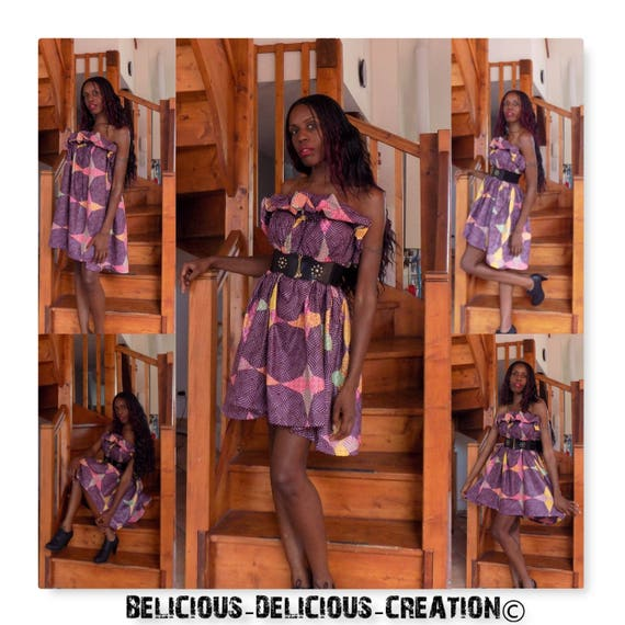 Original Afrowax dress! WAXSTAR! Cotton multicolored size 38/40 Long 77 cm belicious delicious creation