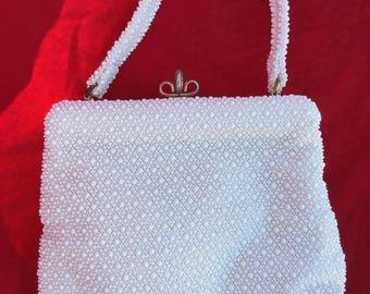 White Vintage Purse Cordé White Beaded Evening Handbag Lumured Bridal Summer