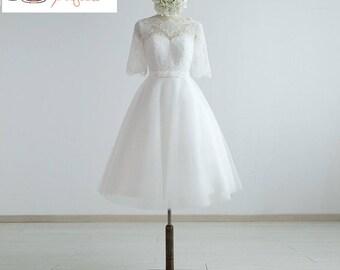 Knee Length Lace organza Half sleeves Wedding Dress.