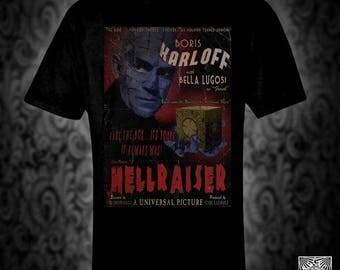 Hellraiser vintage style movie poster T-shirt, retro film horror karloff cenobite pinhead christmas birthday valentine