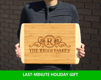 Large Cutting board Personalized Family Monogram, Closing Gift, Christmas Gift, Family Name, Laser Engraved, Two Tone Bamboo Wood