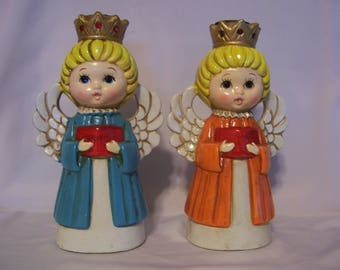 Pair of Homco Angel Candle Holders
