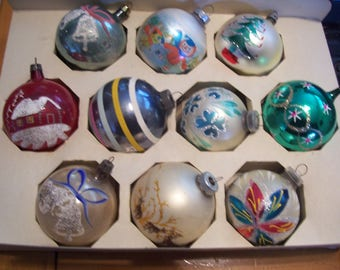 Ten Assorted Christmas Ornaments, Poland, Shiny Brite, West Germany