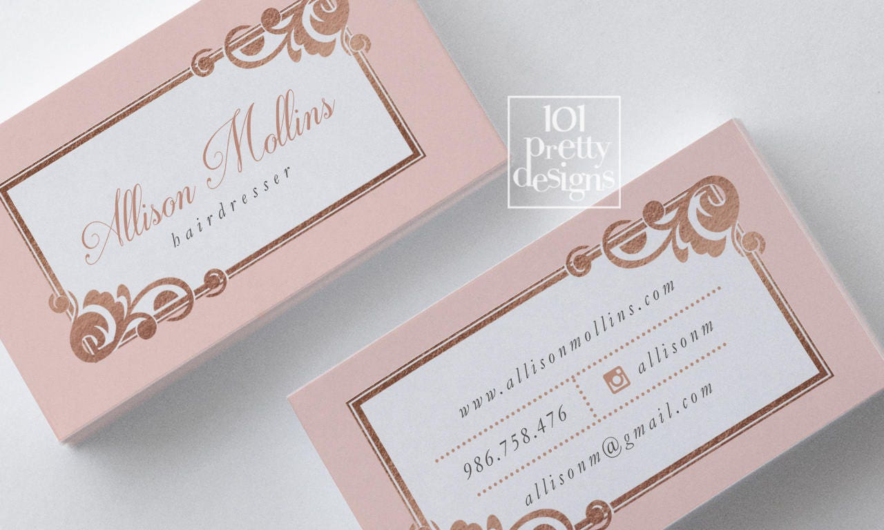 Rose gold foil business card design hairdresser business card description your business card magicingreecefo Gallery