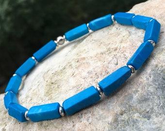 Blue stone bracelet; turquesite bracelet; stone bracelet; men's bracelet; women's bracelet; handmade bracelet; blue bracelet