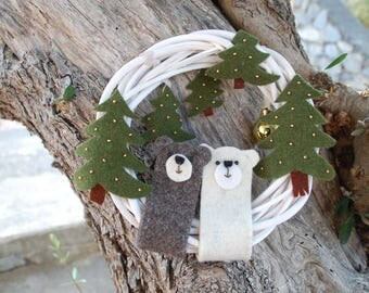 Ghirlanda Natalizia con orsi, in feltro di lana italiano. Decorazione natalizia. Regalo per Natale. Christmas wreath. Christmas decoration.
