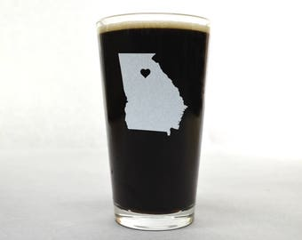 Georgia Beer Glass - State Pint Glass - Pint Glass - Personalized Pint Glass - Etched Pint Glass - Groomsmen Pint Glass