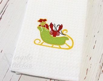 Crawfish Sleigh Tea Towel