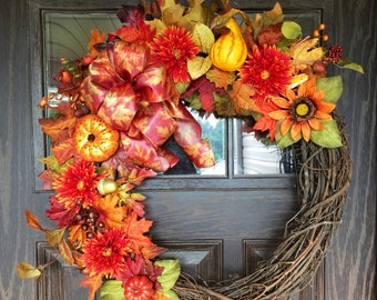 Large Fall Wreath | Thanksgiving Wreath | Fall Decorations | Door Wreaths By Trina on Etsy | Wreaths on Etsy | Etsy Wreaths