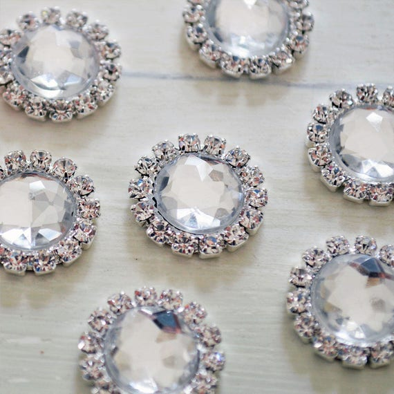 Silver Round Rhinestone Button for Invitations or Decoration with Clear Crystals