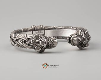 Viking Bracelet With Wolf's Head Scandinavian Arm Ring Viking Jewelry Pewter 000-923
