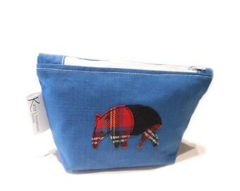 Blue Makeup Bag, Tapir Pencil Case, Tapir Cosmetic Bag, Blue Tapir, Tartan Cosmetic Bag