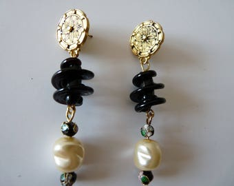 """Black spiral and baroque Pearl"" EARRINGS on rose gold"