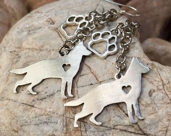Handmade German Shepherd drop earrings