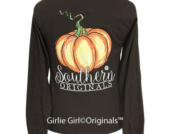 Girlie Girl Originals Watercolor Pumpkin Long Sleeve Chocolate T-Shirt