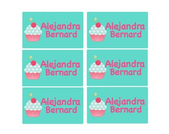 95ct Stick On Clothing Name Labels, Peel and Stick Clothing Labels, Personalized Uniform Labels - Daycare Clothing Cupcakes, Washable Labels
