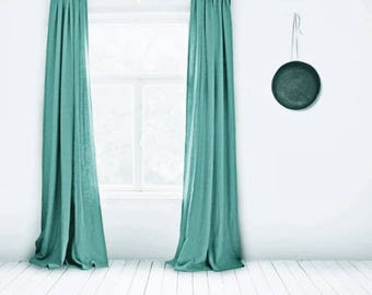 Turquoise Curtains- Linen Curtains- Turquoise Blue- Lined- Turquoise- Made to Measure- Bespoke Curtains- Turquoise Curtains- Large Curtains