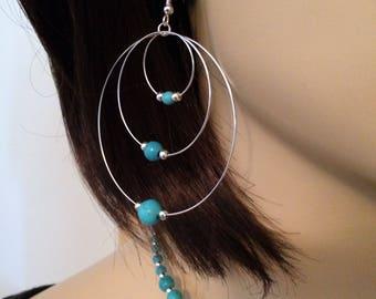 Turquoise earrings: triple hoop wood beads