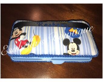 Blue mickey wipe case;wipe cases;boy wipe case;mickey blue wipe case;custom wipe case;boys wipe cases