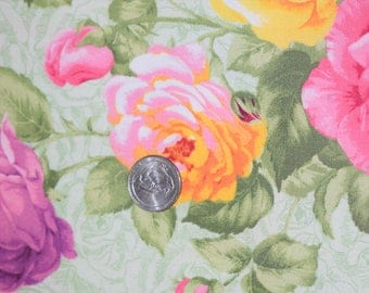 Pale Green Floral Fabric by Cranston Print Works, Pink and Yellow Rose Fabric, Quilting Fabric, Floral Fabric,