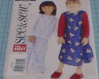 See & Sew 3690 Girls Nightgown and Pajamas Size 6-8