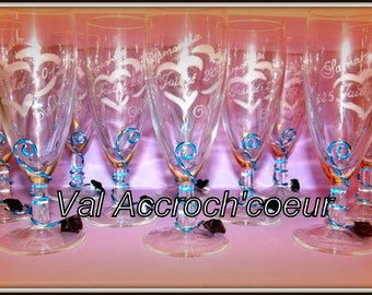 set of 30 personalized and engraved wedding champagne Flutes or other