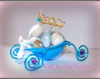 set of 50 containers dragees carriage, ideal for a baptism, marriage royal theme, Cinderella, prince or Princess