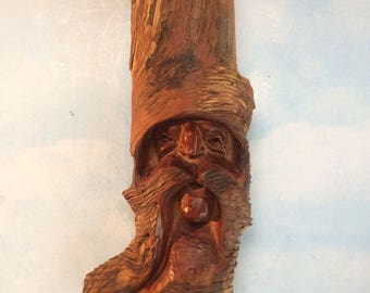 """13"""" Vintage Gnome Old Man Wally Wood Carving Wall hanging figurine figure Plaque"""