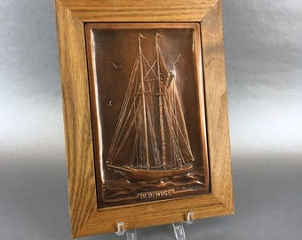 Vintage Bluenose Sailing Ship Nadeau Canada Copper Wall Decorative Plaque MCM