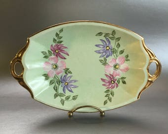 "10"" Green Floral Fine China Serving Plate Tray England"