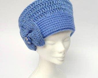 Beanie hat no. Vesta. 25, blue, with matching mittens.