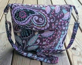 Handbag, shoulder bags, cross body bag, Paisley bag, purple bag, Dena design fabric, custom bag, gift for her