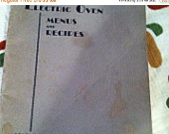 35% off Sale Vintage 1930 electric oven menus and recipes cookbook