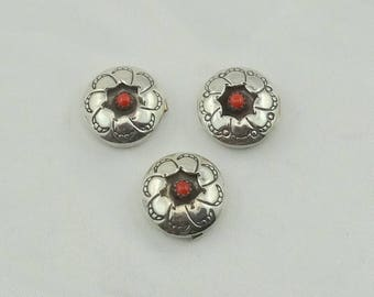 Set of Three Collectable Southwest Navajo Native American Red Coral and Sterling Silver Shadowbox Button Covers  #CORALSHADOW-UV3