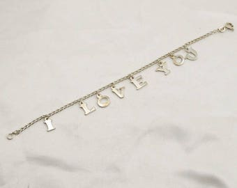 """Say """"I Love You"""" With This Vintage Solid Sterling Silver Link Bracelet. #ILOVEYOU-LB2"""