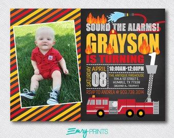 Firefighter Birthday Photo Invitation / Four Alarm Fire Birthday Invitation / Fire Truck Invitation / Fireman Invitation / Firefighter Party