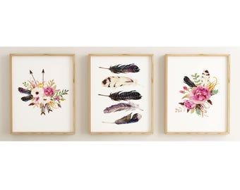 set of prints, botanical print, set of 3 prints, boho chic wall art, boho nursery, tribal decor, feather decor,