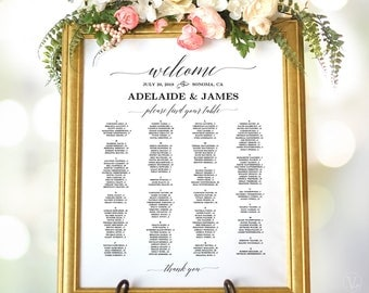 Wedding Seating Chart Poster, Printable Wedding Seating Chart Sign Template, Alphabetical Seating Chart, Matches Greenery and Peach Blush