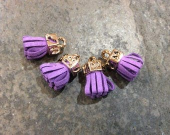 Purple micro suede tassels with gold caps Petite tassels for jewelry making and crafts